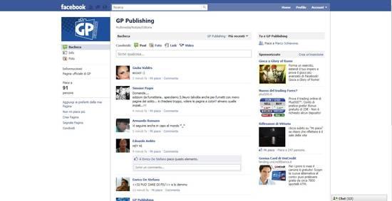 La pagina facebook di GP Publishing
