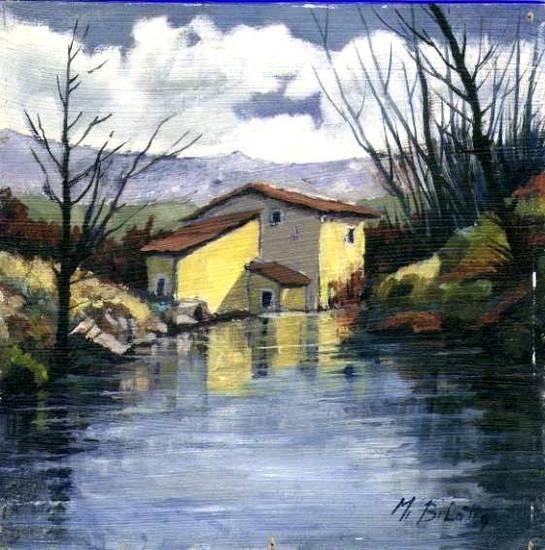 Foto case sul fiume dall 39 album quadri ad olio di for Quadri da copiare