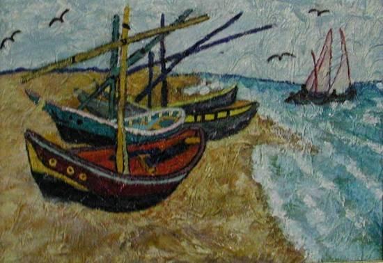 barche di pescatori nell'areni