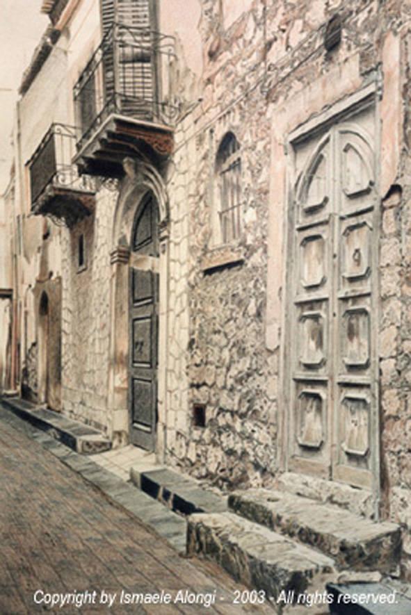 Centro storico di Sommatino, 1993, Ismaele Alongi, cm 35 x 45 circa, pastelli su cartoncino