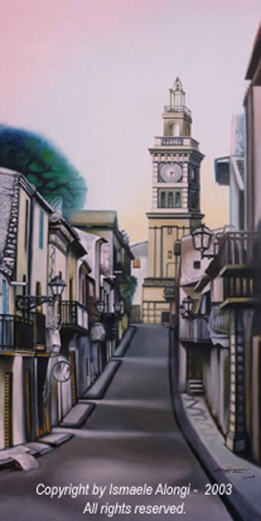 Torre civica di Sommatino, 2001, Ismaele Alongi, cm 50 x 100, olio su tela