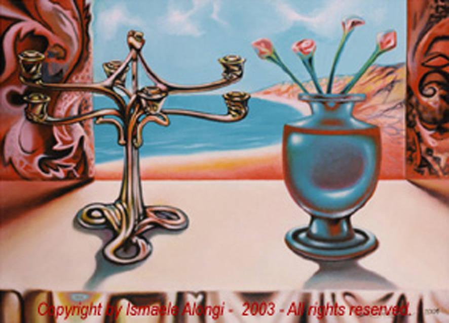 Arabesco mediterraneo, 2001, Ismaele Alongi, cm 50 x 70, acrilico su tela