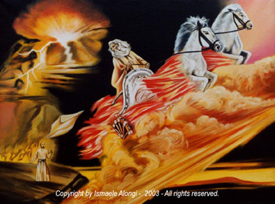 Il carro di Elia, 2002, Ismaele Alongi, cm 60 x 80, olio su tela