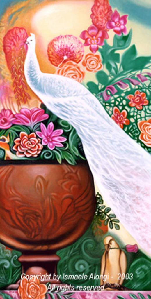 Pavone bianco, 2001, Ismaele Alongi, cm 60 x 120, acrilico su tela