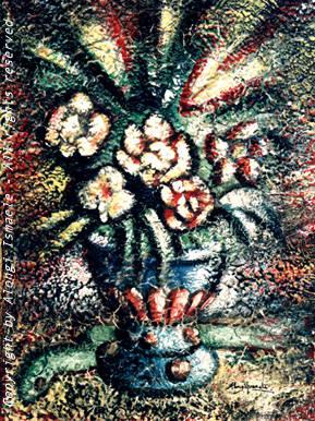 Vaso di fiori e serpente, 1996, Ismaele Alongi, cm 30 x 40, tecnica mista