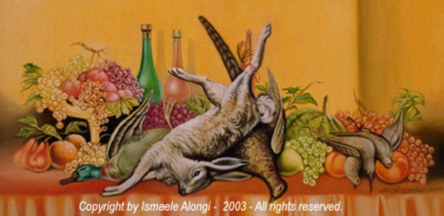 Natura morta con cacciagione, 2002, Ismaele Alongi, cm 50 x 100, olio su tela