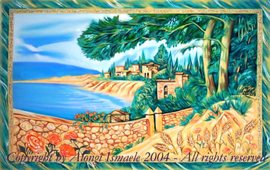 Paesaggio mediterraneo, 2004, Ismaele Alongi, cm 70 x 115, olio su tela