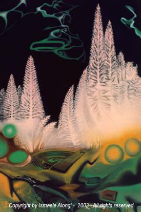 Sistemi: Macleaya microcarpa, 2000, Ismaele Alongi, cm 40 x 60, olio su tela