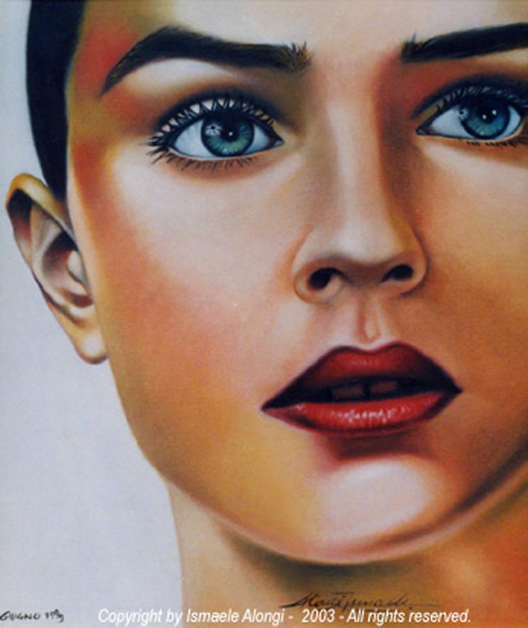 Volto di ragazza, 1999, Ismaele Alongi, cm 50 x 60, olio su tela