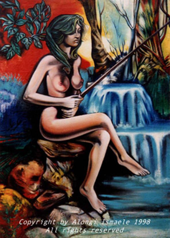 La seduzione femminile, 1998, Ismaele Alongi, cm 100 X 140, olio su tela