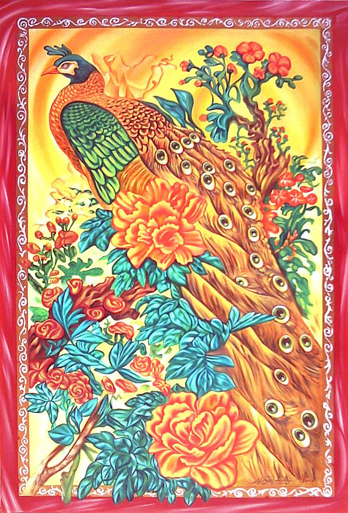 Pavone cinese in cornice rossa, 2007, Ismaele Alongi, cm 60 x 90, olio su tela