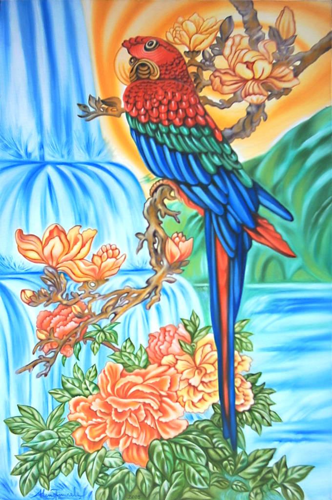 Pappagallo cinese in valle paradisiaca e cascata, 2005 , Ismaele Alongi, 60 x 90, olio su tela