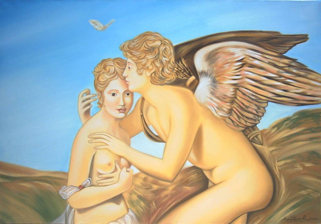 Amore e Psiche - studio da Gérard, 2004, Ismaele Alongi, cm 70x100, olio su tela