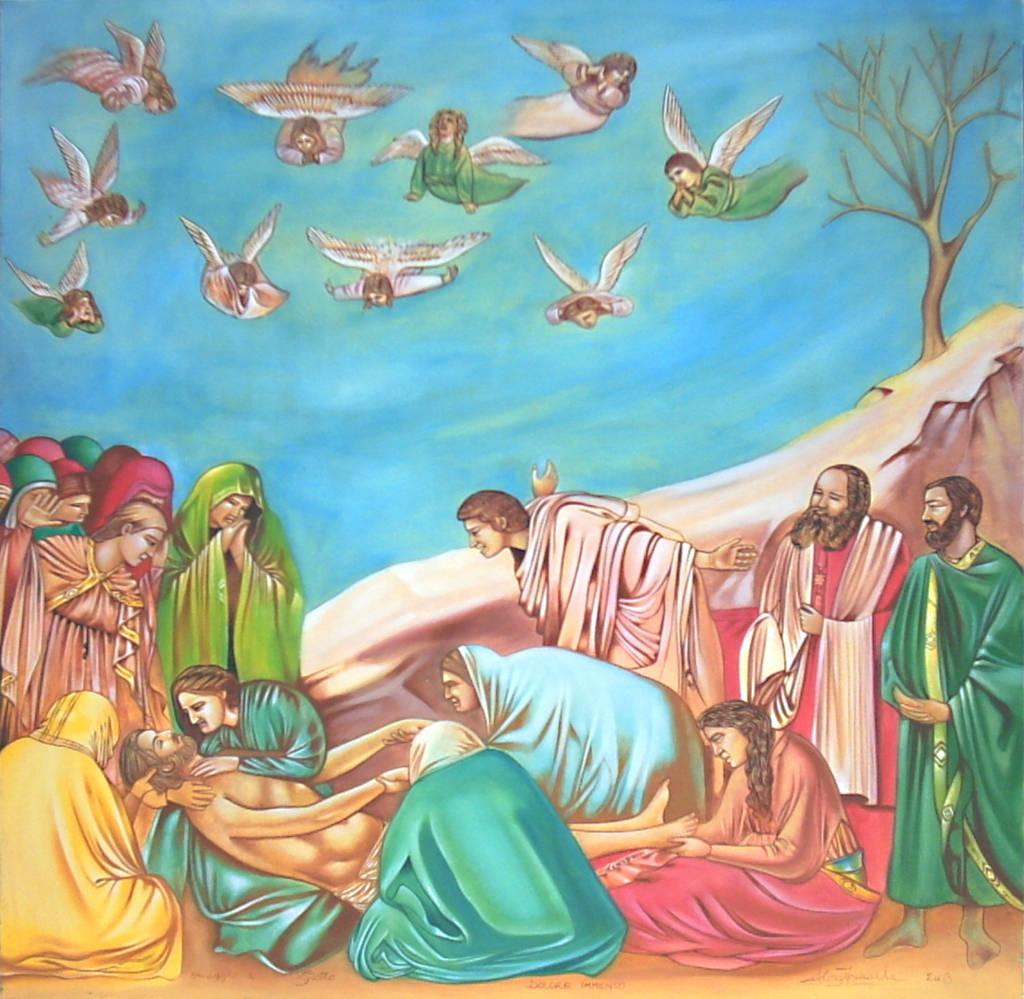 Compianto su Cristo Morto - Dolore Immenso - omaggio a Giotto, 2003, Ismaele Alongi, cm 80 x 80, tempere su tela
