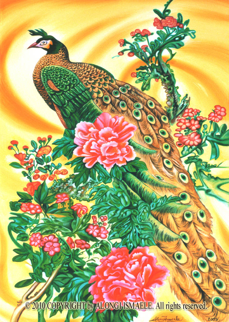 Pavone cinese in giallo indiano, 2005 , Ismaele Alongi, 60 x 90, olio su tela