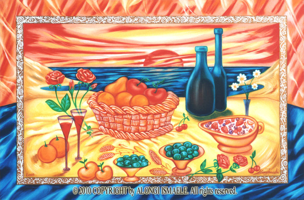 Romanticismo e Spiritualita' familiare nel Mediterraneo, 2005, Ismaele Alongi, 60 x 90, olio su tela