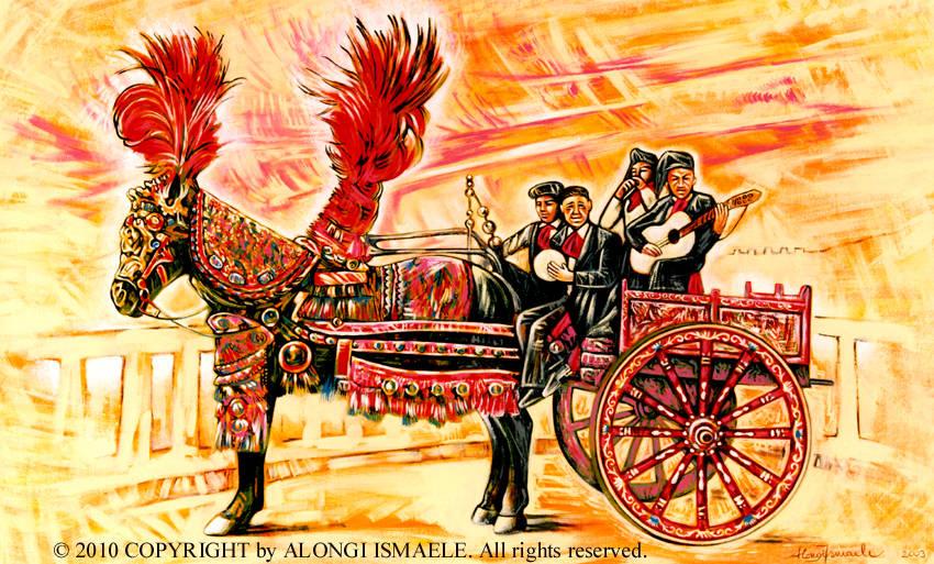 Studio di carretto siciliano con quattro musicisti, 2003, Ismaele Alongi, cm 60 x 90, acrilico su tela