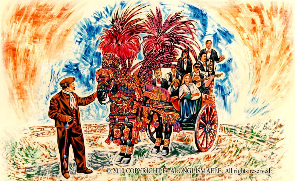 Studio di carretto siciliano con musicisti, fanciulle e uomo che guida a terra, 2003, Ismaele Alongi, cm 60 x 90, acrilico su tela