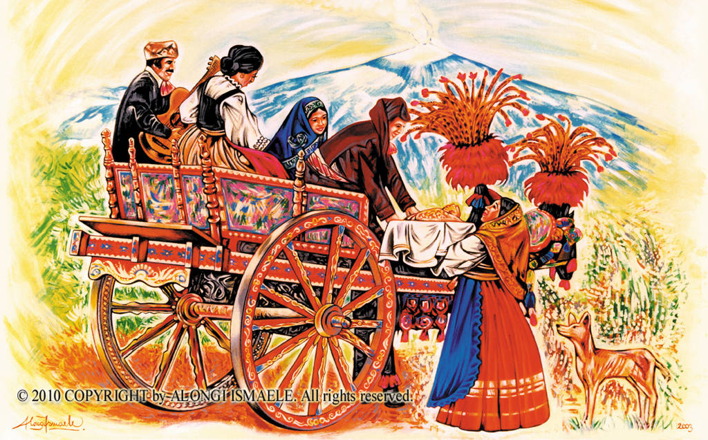 Studio di carretto siciliano con donna che offre dolci e vulcano Etna in sfondo, 2003, Ismaele Alongi, cm 60 x 90, acrilico su tela