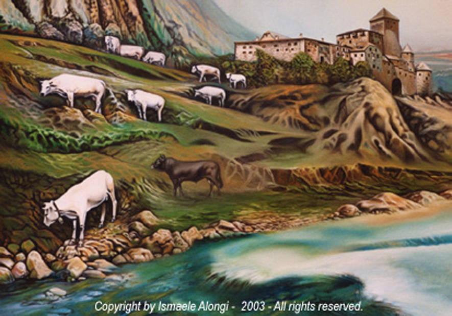 Vitelli e castello medievale, 2001, Ismaele Alongi, cm 70 x 100, olio su tela