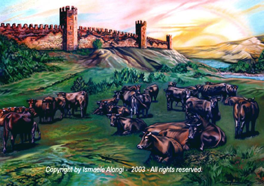 Vitelli a riposo e torri di difesa, 2001, Ismaele Alongi, cm 70 x 100, olio su tela