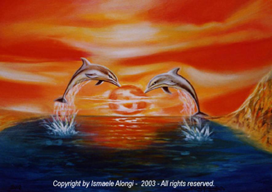 Delfini, elevazione e tramonto, 2002, Ismaele Alongi, cm 50 x 70, acrilico su tela