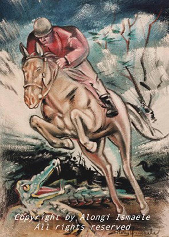 Il cavallo e il coccodrillo, 1996, Ismaele Alongi, cm 40 x 60, tecnica mista su tela