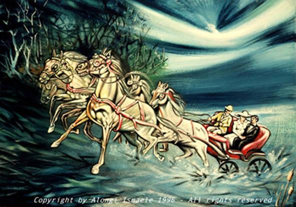 Passeggiata irlandese, 1996, Ismaele Alongi, cm 70 x 100, tecnica mista su tela