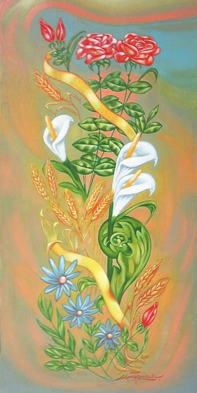 Composizione con rose e spighe di grano, 2010, Ismaele Alongi, cm 35 x 70, olio su tela