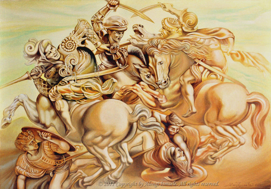 Studio sulla Battaglia di Anghiari di Leonardo da Vinci, 2011, Ismaele Alongi, cm 70 x 100, olio su tela