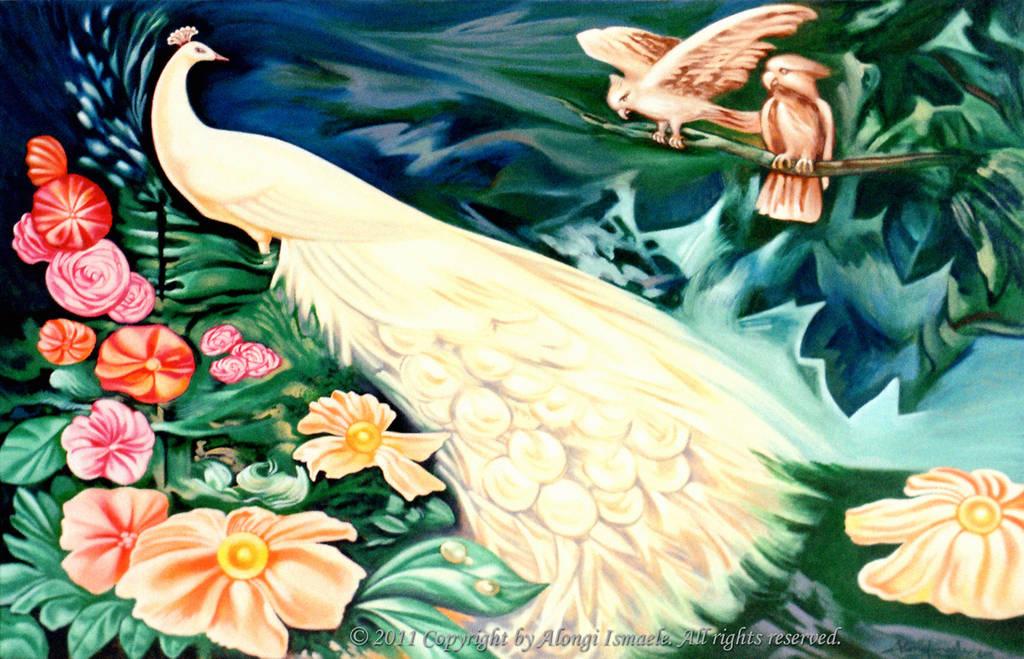 Pavone bianco in fantasia tropicale, 2011, Ismaele Alongi, cm 60 x 90, acrilico su tela