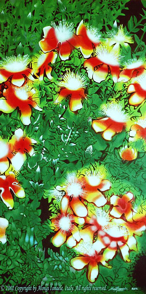 Vitalità floreale e generazione della vita ~ Fantasia di Hypericum Olympicum, 2002, Ismaele Alongi, cm 60 x 120, acrilico su tela
