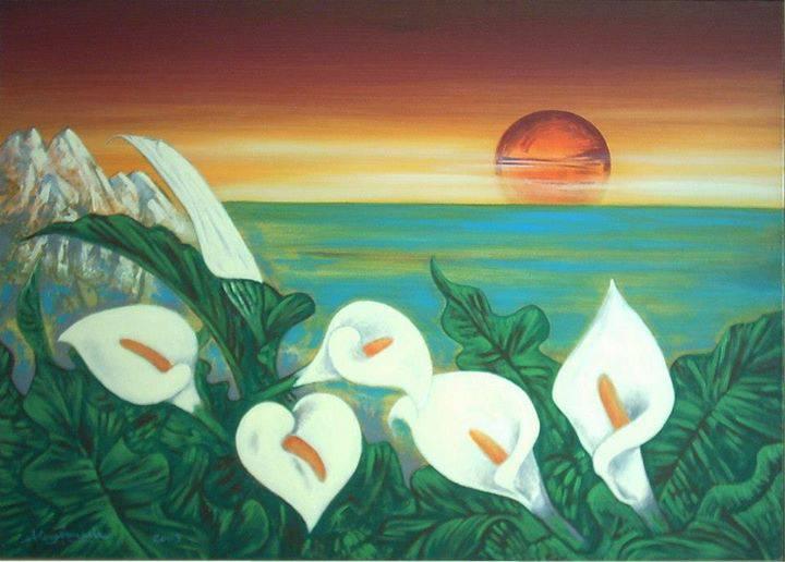 Fiori di calle al tramonto, 2003, Ismaele Alongi, cm 50 x 70, acrilico su tela