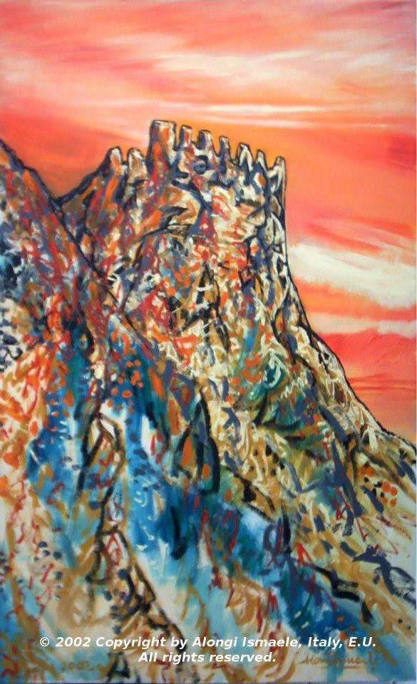Castello di Delia in atmosfera impressionista, 2002, Ismaele Alongi, acrilico su tela, cm 45,5 x 75