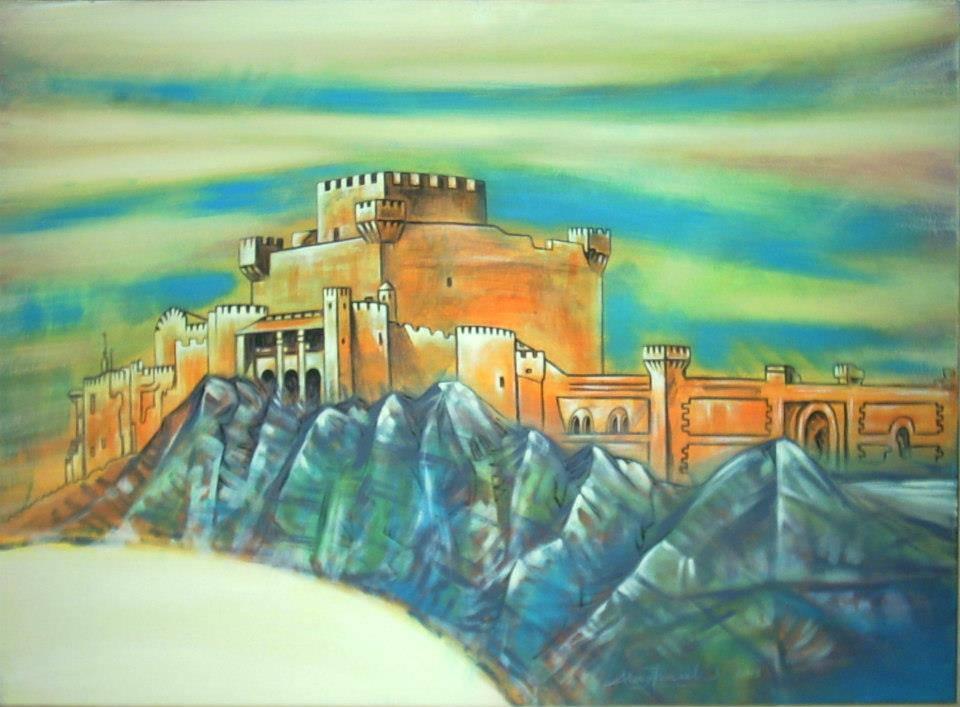 Castello di Falconara - Ricerca di stile in luce antica, 2003, Ismaele Alongi, cm 50 x 70, acrilico su tela