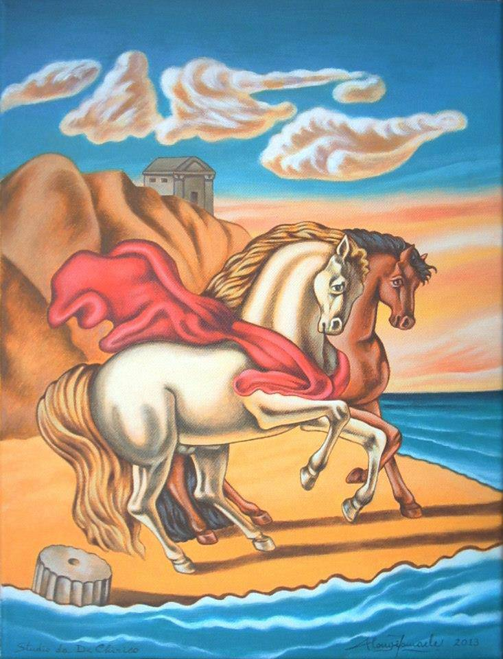 'Cavalli in riva al mare' - Studio da De Chirico, 2013, Ismaele Alongi, cm 30 x 40, acrilico su tela