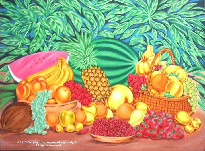 Composizione di frutta mediterranea e tropicale, 2013, Ismaele Alongi, cm 70 x 100, acrilico su tela