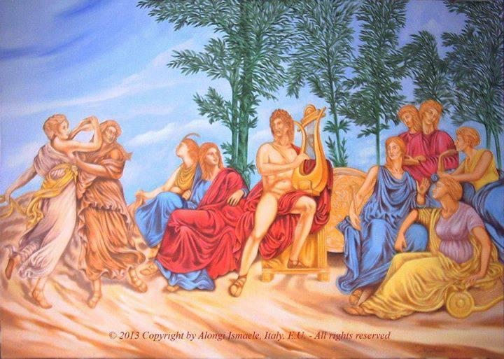Il principe e le muse, studio da Appiani, 2013 <font size=3>[anno in cui &egrave; stato completato]</font>, Ismaele Alongi, cm 70 x 100, acrilico su tela