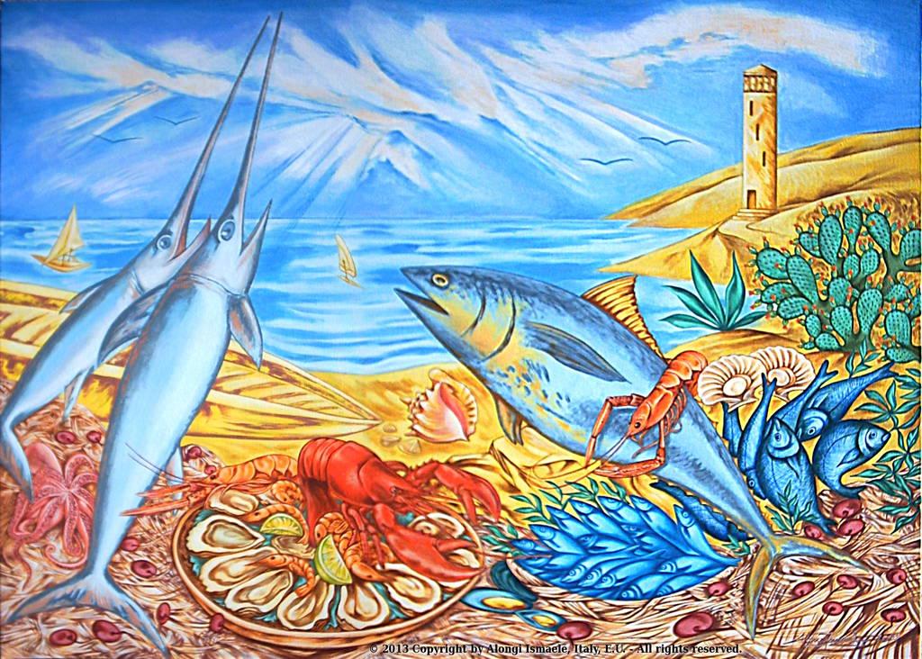 Fantasia mediterranea di pesci in riva al mare, 2013, Ismaele Alongi, cm 70 x 100, acrilico su tela