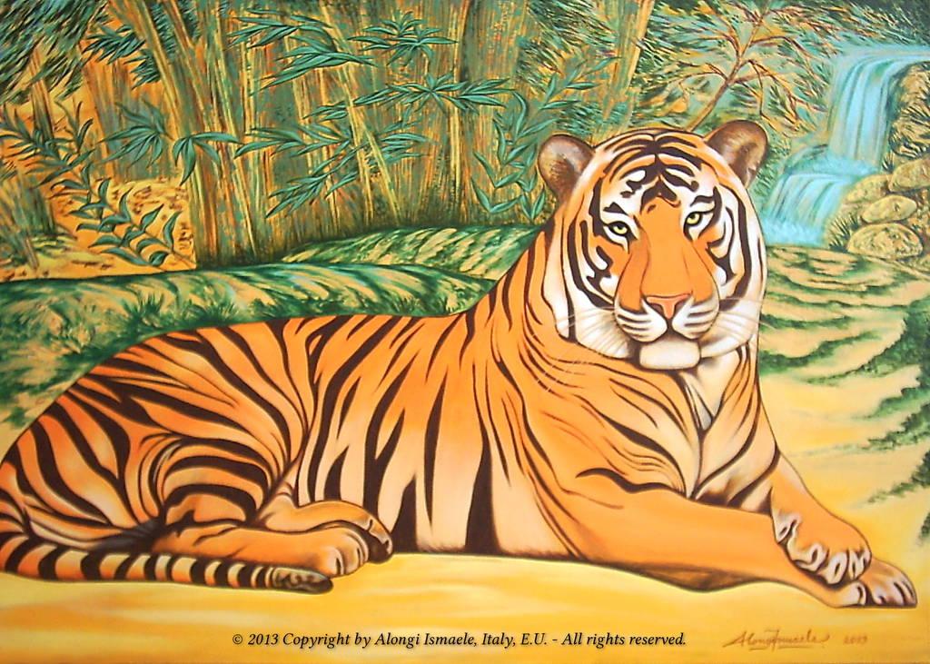 Tigre a riposo con bambù e cascata, 2013, Ismaele Alongi, cm 50 x 70, acrilico su tela