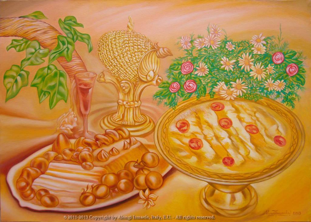 Giorno di Festa - composizione con dolci dessert, prisma luminoso, fiori e frutti, 2011-2013, Ismaele Alongi, cm 50 x 70, olio su tela
