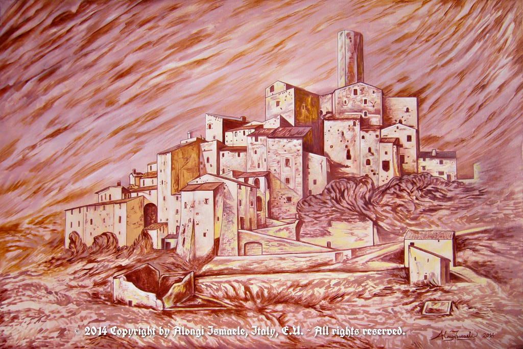 Castello di Postignano in atmosfera medievale, 2014, Ismaele Alongi, cm 60 x 90, acrilico su tela