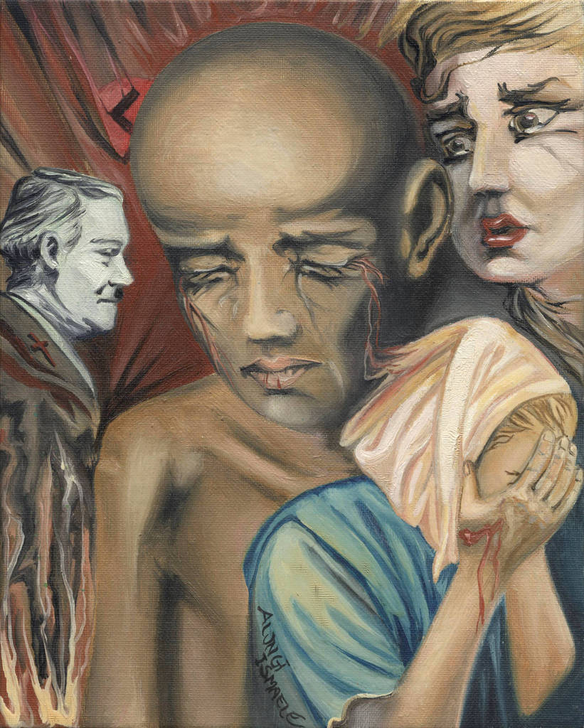 Specimen, 1994, Ismaele Alongi, cm 20x25, olio su tela  (tela montata su cartoncino)