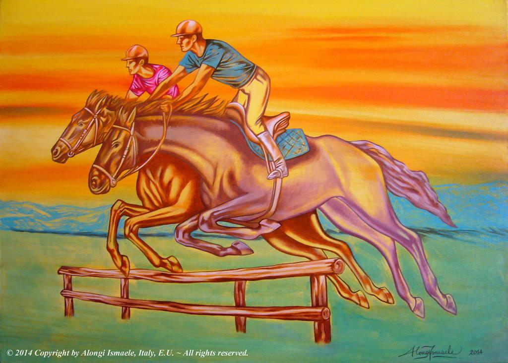 Due cavalli e due cavalieri, pensiero salto sincronia, 2014 (completato), Ismaele Alongi, cm 50 x 70, acrilico su tela