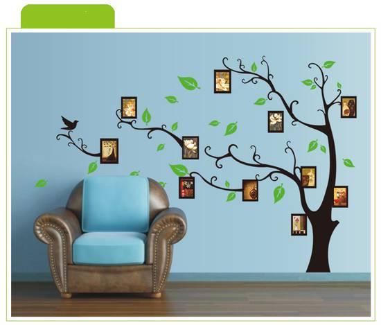 Wall stickers adesivi albero nero decorazioni murali for Portafoto parete
