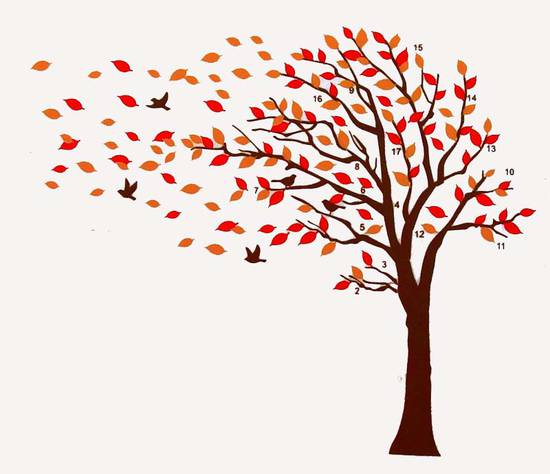 Large autumn leaves tree bird wall sticker decal removable for Autumn tree mural
