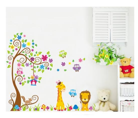 Wall sticker adesivi albero animali bambini decoro murali - Stickers cameretta bambino ...