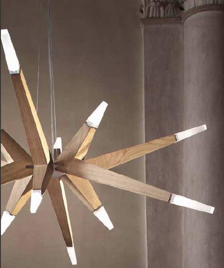 Lampadario Sospensione Lampada Masiero LED Struttura in Legno Di ...