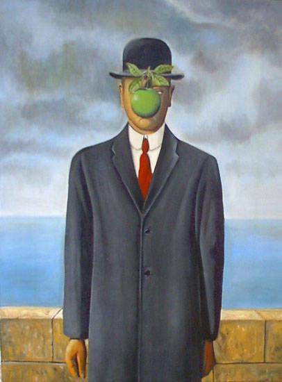 Foto magritte uomo con cappello dall 39 album dipinti - Magritte uomo allo specchio ...