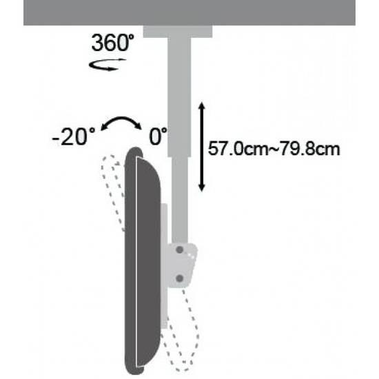 Staffa di supporto a soffitto porta televisore per tv - Porta tv a soffitto ...